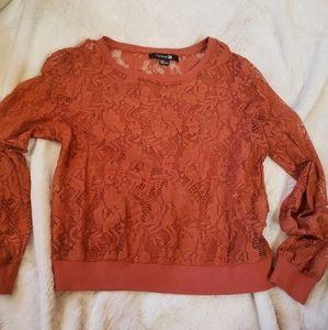 Rue 21 long sleeve sheer lace burnt rust orange